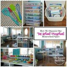 "Overwhelmed? Can't figure out how to organize all of the ""Tot School""/Preschool stuff you've accumulated? One mama breaks it down for you. She shares not only her space, but also how she organizes everything in it. Check it out!"
