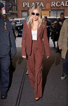 Trust Me, This Sienna Miller Outfit Will Be Everywhere in 2020 - Celebrity Style Nyc Fashion, Suit Fashion, Fashion Styles, Sienna Miller Style, Stylish Suit, Stylish Womens Suits, Trouser Suits, Womens Trouser Suit, Pinstripe Suit Women