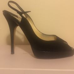 Jimmy Choo shoes Black suede Clue platform open toe sling backs. Barely worn Jimmy Choo Shoes Heels