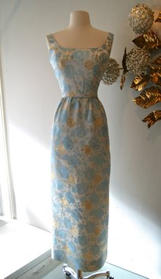 1960s Gown // Vintage 60s Blue and Gold Floral by xtabayvintage, $198.00