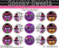 "Spooky Sweets! Halloween 1"" Digital Bottle Cap Images"