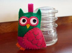 Pocket Felt Owl green pink and magenta by Tinyfelts on Etsy, $12.00