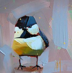 Chickadee no. 407 original bird oil painting by Angela Moulton 6 x 6 inches on panel prattcreekart  can ship January 26