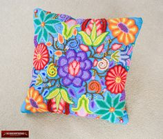 """Peruvian pillows 16x16 - Embroidered Pillow - Handwoven Cushion covers """"Floral Sky""""- Turquoise sheep Wool decorative pillows - Peru Textiles by DECORCONTRERAS on Etsy https://www.etsy.com/au/listing/387021334/peruvian-pillows-16x16-embroidered"""