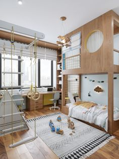 Visualization for projectsgallery. Kids Bedroom Designs, Home Room Design, Kids Room Design, Loft Interior, Interior Design, Bunk Beds Built In, Cool Kids Rooms, Dark Interiors, Boy Room
