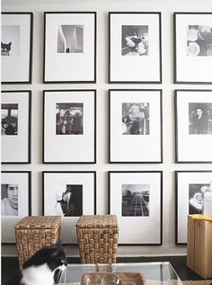 Gallery Wall Layout, Gallery Wall Frames, Art Gallery, Modern Gallery Wall, Photo Gallery Walls, Black And White Frames, Black White, Black And White Picture Wall, Black Picture Frames