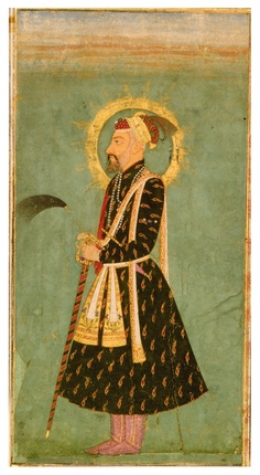A PORTRAIT OF EMPEROR AWRANGZEB (R.1658-1707), INDIA, MUGHAL, CIRCA 1670.  Gouache heightened with gold on paper, depicting Awrangzeb wearing a jewelled red and gold turban, gold floral patka, holding a fly whisk and sword, a halo around his head, with a jewelled katar secured in his belt, laid down on an album page with leafy outer margins set with applied foliate cartouches in different colours, the reverse with a text box with 13 lines of elegant nasta'liq script in black