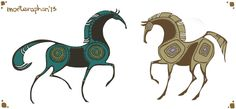 Character design (shapes) (C) morteraphan on Deviantart Horse Drawings, Animal Drawings, Art Drawings, Character Drawing, Character Design, Indian Horses, Motifs Animal, Blue Horse, Animal Silhouette
