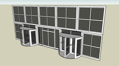 Curtain Wall with Relvolving Door - 3D Warehouse