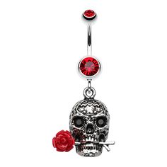 Red Rose Skull Dangly Belly Ring - Life and Death, Beauty and Decay. Find it at www.tummytoys.com.au