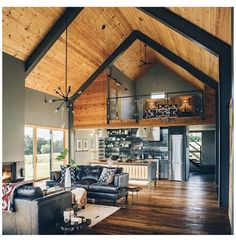 Vaulted Ceiling Bedroom, Vaulted Ceiling Kitchen, Vaulted Ceiling Lighting, Vaulted Ceilings, Modern Barn House, Barn House Plans, Cabin Plans, Modern Houses, Metal Building Homes