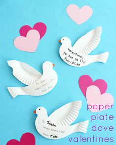 These kid-friendly paper-plate dove Valentines are easy enough to make for an entire class — and all you need is basic household items.