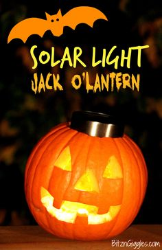 "Simplest, coolest thing EVER! Use the top of a garden solar light to light your pumpkin for Halloween! Charges all day and then ""turns on"" automatically at night without any batteries or cords!! SO SMART!"