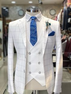 Wedding Suits Slim-Fit Plaid Suit White – BOJONI - Available Size : material : e viscose , 2 polyester , lycra Machine washable : No Fitting : slim-fit Remarks : Dry Cleaner Slim Fit Tuxedo, Slim Suit, White Tuxedo, Tuxedo Suit, Prom Tuxedo, White Plaid, Mens Fashion Wear, Suit Fashion, Fashion Rings