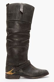 GOLDEN GOOSE //BLACK LEATHER KNEE-HIGH CHARLYE BOOT