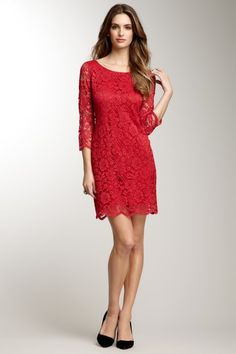 Love it for Valentines Day! Anne Klein Scalloped Hem Lace Dress