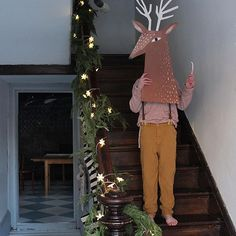 Pulling out Mr. Reindeer again this year. Perhaps we'll make a full box costume of him this time around? #mermagchristmas #mermagcardboard #thebanisterhouse