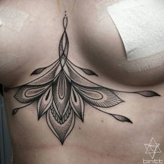 abstract flower underboob tattoo by @bintt