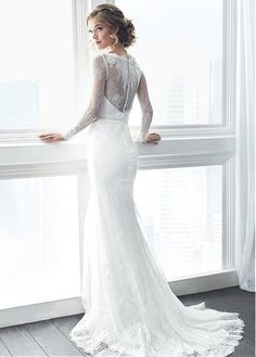 Fitted Tulle & Lace Bateau Neckline Mermaid Wedding Dresses With Lace Appliques