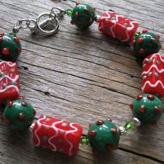 Christmas Green and Red Lampwork Bracelet for Large Wrist
