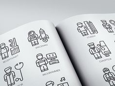 30 People Profession Icons **Freebie** Feature 30 Unique Icons Design Perfect Detail & High Quality Pixel Perfect Icons Based on 64 Pixel Grid Customize Line Weight with Illustrator Easy to Ed. Pictogram, Icon Set, Persona, Icon Design, Avatar, Grid, Illustrator, Design Inspiration, Bullet Journal