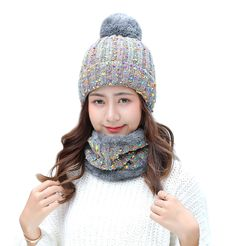 460e102befa Womens Mens Stretchy Knitted Pom Fleece Lined Caps Beanie Scarf Set - 2 in  1(grey) - CD187DYAT56 - Hats   Caps