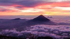 Agua Volcano and Pacaya Volcano shot at sunrise from the summit of Acatenango… | by pbasap on imgur