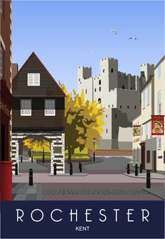 Gardening In The City Rochester Gatehouse and Castle. This was our first image of Rochester. It took me a long time to decide how to draw the castle. The Dickens Festival is one of the big events in the City each year. Posters Uk, Railway Posters, Illustrations And Posters, Poster Prints, Graphic Posters, Kent Travel, Rochester Kent, British Travel, Tourism Poster