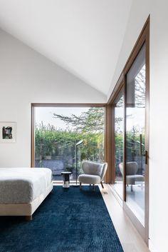 Grey Window Frames, Grey Windows, Large Windows, Wood Frames, Modern Exterior, Interior And Exterior, Angled Ceilings, White Oak Wood, Wood Siding
