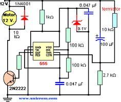 Control de temperatura (velocidad cooler) con 555 - Si la temperatura sube, más rápido gira el ventilador. Si la temperatura baja, el ventilador disminuye su velocidad. que tener cuidado de que la temperatura no tenga siempre al ventilador al máximo. Esto se controla variando, si es necesario, el valor del resistor de 2.7 K. Hobby Electronics, Electronics Projects, Tesla Video, Radios, Gold Detector, Electronic Circuit Projects, Hobby Kits, Circuit Diagram, Home Automation