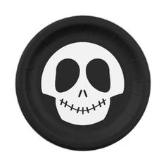 Halloween Cute Black White Skull Paper Plate - home gifts ideas decor special unique custom individual customized individualized