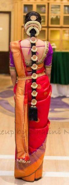 Vibrant Red and Purple Silk Bridal Saree with Pelli Poola Jada