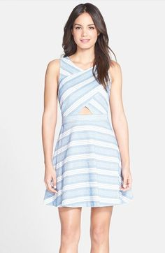 CeCe+by+Cynthia+Steffe+'Eastyn'+Stripe+Cutout+Fit+&+Flare+Dress+available+at+#Nordstrom