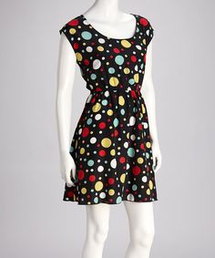 Take a look at this Black Polka Dot Dress by Just Funky on #zulily today!