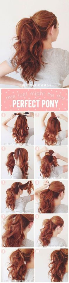 Easy Half up Half down Hairstyles: PERFECT PONY. I LOVE this ponytail. Too casual for your wedding day? Try it for your rehearsal dinner or brunch.