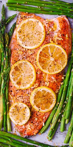 Lemon Pepper Garlic Rainbow Trout and Asparagus baked on a sheet pan in the oven. Healthy, low-carb, gluten free, keto-friendly recipe, packed with healthy omega 3 fatty acids. Easy and quick - only 30 minutes from start to finish! Trout Recipes Oven, Trout Fillet Recipes, Salmon Recipes, Lake Trout Recipes, Cabbage Recipes, Rainbow Trout Recipe Baked, Rainbow Trout Recipes, Steelhead Trout Recipe Baked, Cooking Rainbow Trout