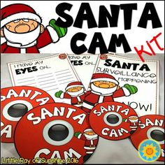 "HO, HO, HO! It's that time of year! Let your students know that Santa is always watching using your very own SANTA CAM installed in your classroom! These Santa Cams have ""realistic"" looking lenses!  Included in this kit: 2 Santa Cams: 1 Large sized to put on the wall 1 Smaller sized to wear around your neck to let the kids know he's watching even in the hallway! 1 Santa Surveillance Poster 2 I Have My EYES On… poster to write your students names. Lined and unlined"