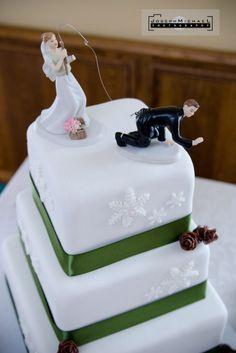 Fishing wedding cake, fishing, bride hooking the groom wedding cake. Winter wedding cake. Snowflakes.