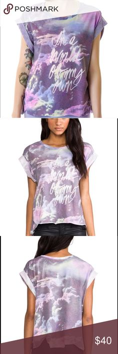 "Wildfox In a World of my Own Tee Stunning rainbow cloud swirl on this tee that reads ""In a World of My Own"" ☁️🌟 perfect for the warm weather to come! Excellent condition. Size XS, loose fitting so can fit S and cute crop for size M! Intentionally jagged edge, looks great on.  Bundles encouraged for discount 😊 Wildfox Tops Tees - Short Sleeve"