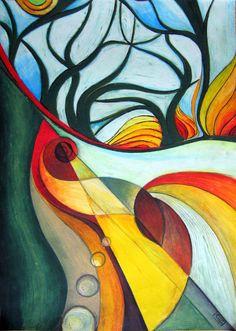 Arati Devasher - Oil Pastels: Forest Pool