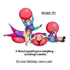 Art Impressions Girlfriends Under My Umbrella Stamp Set : Art Impressions - Girlfriends Collection - Unmounted Rubber Stamp Set - Work Out Happy Birthday For Her, Happy Birthday Funny, Sister Birthday, Happy Birthday Cards, Funny Happy, Birthday Wishes, Desenho Pop Art, Birthday Captions, Birthday Quotes