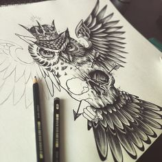 WEBSTA @ eddie_millerr - Chest piece for my customer #owl #skull #tattoo #design #edwardmiller #sullenclothing