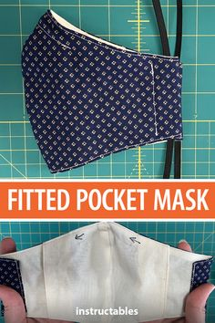 This fitted pocket face mask is modified from the Olson design and has a pocket that allows you to add and remove a filter for additional protection. There are also 8 sizes to work with. Sewing Hacks, Sewing Tutorials, Sewing Crafts, Sewing Projects, Sewing Blogs, Dress Tutorials, Sewing Tips, Easy Face Masks, Diy Face Mask