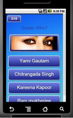 A Bollywood quiz game for Bollywood movie and Bollywood music lovers. It has some fun and unique questions with pictures. Guess the eyes, Guess the face, Guess the baby and so on. It has a selection of all your hot and sexy Bollywood movie and music stars such as ..<p>Shah Rukh Khan, Salman Khan, Amir Khan, Ranbir kapoor, Ranveer Singh, Katrina Kaif, Priyanka chopra, Sonam kapoor, Vidya Balan, Aishwarya Rai, Amisha Patel, Udita Goswami, Tara Sharma, Isha Koppikar, Zarine Khan, Katrina Kaif…