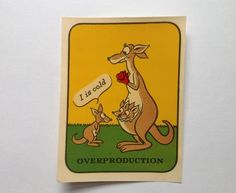 Vintage, unused water slide decal with Kangaroo and babies in her pouch titled Overproduction. Excellent condition, comes in original waxed sleeve. Measures 4 X 3 Hand Carved, Hand Painted, Cat Statue, Whitney Museum, Water Slides, Book Design, Kangaroo, Vintage Items, Decals