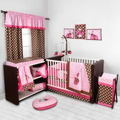 Bacati Lady Bugs Pink Chocolate Girls 10 Piece Nursery In A