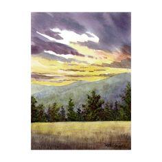 Smokey Mountain painting Landscape painting Original Watercolor Landscape Pine Trees Realism smokey art 5x7 on paper