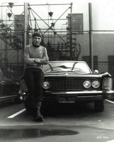 Leonard Nimoy (Star Trek's Mr. Spock) and his 1964 Buick Riviera on the Desilu backlot, vintage 1966.