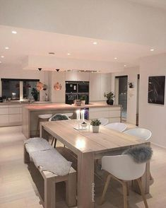 Awesome modern kitchen room are readily available on our internet site. Read more and you wont be sorry you did. Kitchen Interior, Home Interior Design, Kitchen Decor, Kitchen Ideas, Interior Livingroom, Interior Ideas, Interior Inspiration, Open Plan Kitchen Living Room, New Kitchen