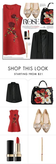 """""""Beautifulhalo.com: Rose Noire"""" by hamaly ❤ liked on Polyvore featuring Dolce&Gabbana, outfit, ootd, dresses, denimjacket and beautifulhalo"""